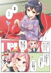 4girls ahoge akebono_(kantai_collection) alternate_costume bell comic crab flower hair_bell hair_bobbles hair_flower hair_ornament highres holding japanese_clothes kantai_collection kimono long_hair multiple_girls obi oboro_(kantai_collection) pink_eyes pink_hair purple_hair sash sazanami_(kantai_collection) school_uniform serafuku short_hair translation_request twintails ushio_(kantai_collection) yume_no_owari