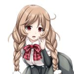 1girl arm_warmers blush bow bowtie braid breasts collared_shirt cowboy_shot eyebrows_visible_through_hair grey_skirt hair_between_eyes hand_on_own_cheek highres kantai_collection large_breasts light_brown_hair long_hair looking_at_viewer minegumo_(kantai_collection) open_mouth pleated_skirt red_eyes red_neckwear school_uniform shirt short_sleeves simple_background skirt solo suspender_skirt suspenders tk8d32 twin_braids white_background white_shirt