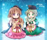 2girls :o alternate_hairstyle apron bangs black_hat blue_background blunt_bangs brown_hair dress english full_body green_dress green_eyes green_hair hat holding holding_hair long_hair multiple_girls nishida_satono pink_dress pote_(ptkan) purple_eyes red_neckwear red_ribbon ribbon sidelocks sitting smile snowflake_background teireida_mai touhou waist_apron yellow_neckwear