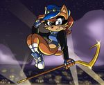 anthro black_nose blue_eyes bottomless brown_fur cane chauvels chipmunk city clothed clothing cloud cosplay costume eyewear fingerless_gloves footwear fur gloves goggles hair half-dressed hat jacket jumping legwear lights looking_at_viewer mammal mask night red_hair rodent sally_acorn shoes sly_cooper sly_cooper_(series) smile sneakers socks sonic_(series) squirrel staff star turtleneck_sweater