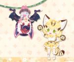 2girls :d animal_ear_fluff animal_ears artist_name bat_ears bat_wings blonde_hair blush_stickers cat_ears cat_tail chibi commentary_request common_vampire_bat_(kemono_friends) extra_ears food green_eyes hanging japari_bun kemono_friends looking_at_another milo multicolored_hair multiple_girls open_mouth pantyhose pink_hair pink_legwear purple_eyes purple_hair sand_cat_(kemono_friends) seiyuu_connection short_hair skirt smile sparkle_background striped_tail tail twitter_username upside-down white_hair wings