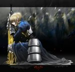 1girl ahoge armor blonde_hair blood blood_in_mouth bloody_clothes braid dress excalibur fate/stay_night fate/zero fate_(series) from_side gauntlets green_eyes highres kneeling monkey_buonarroti one_knee petals planted_sword planted_weapon profile saber solo sword weapon