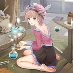 1girl alchemy atelier_(series) barefoot blue_eyes brown_hair dress feet flask frilled_shirt frills full_body hat kishida_mel long_sleeves looking_at_viewer looking_back on_floor parted_lips potion rororina_fryxell round-bottom_flask shirt short_hair_with_long_locks sitting skirt soles solo test_tube toes wariza winged_hat