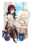 1girl ;d artist_name badge beret black_legwear black_skirt blue_sky bucket button_badge copyright_name creatures_(company) day easel game_console game_freak gen_7_pokemon hair_between_eyes handheld_game_console hat looking_at_viewer nintendo nintendo_3ds nintendo_switch one_eye_closed open_mouth paintbrush painting poke_ball pokemon red_hat risem rowlet shoes short_sleeves sitting skirt sky smile smock thighhighs white_footwear wii_u window