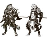 2012 afd-yred anthro armor barefoot canine claws clothed clothing duo feline fur halberd leopard loincloth male mammal melee_weapon monochrome navel polearm sheath simple_background spots sword toe_claws weapon white_background wolf