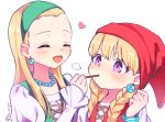 2girls :d blonde_hair blush braid closed_mouth collarbone dragon_quest dragon_quest_xi earrings eyes_closed food food_in_mouth green_hairband hairband hand_up hat heart holding holding_food jewelry juliet_sleeves kz_ripo long_hair long_sleeves low_twintails multiple_girls necklace open_mouth pearl_necklace pocky puffy_sleeves purple_eyes red_hat senya_(dq11) shirt simple_background sleeves_past_wrists smile twin_braids twintails twitter_username veronica_(dq11) white_background white_shirt