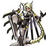 1girl ahoge android arc_system_works armor blade blazblue blazblue:_continuum_shift blonde_hair bodysuit braid fighting_stance frown glowing glowing_eye hair_ornament hair_weapon katou_yuuki lambda-11 leg_up long_hair maebari mask mecha_musume navel official_art red_eyes robot_ears single_braid single_eye solo standing_on_one_leg sword thighhighs transparent_background very_long_hair visor weapon wings