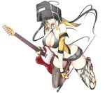 ahoge bag_on_head bare_shoulders bikini_top biting black_legwear breasts capelet character_request cleavage commentary_request copyright_request fender fingerless_gloves gloves grey_hair guitar instrument jacket large_breasts long_hair looking_at_viewer nanao_(mahaya) navel plectrum short_shorts shorts smile solo telecaster thighhighs torn_clothes torn_legwear white_background yellow_eyes