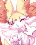 3_fingers ambiguous_gender big_ears blush blush_sticker braixen canine cheek_tuft chest_tuft claws disembodied_hand feral fluffy fox fur inner_ear_fluff mammal nintendo nude nyaswitchnya paws pokémon pokémon_(species) poking red_eyes red_fur shoulder_tuft snout solo stick tuft video_games yellow_fur