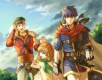 2boys :d arms_behind_back bandana bent_over black_gloves blue_eyes blue_hair blue_sky boyd_(fire_emblem) brown_hair cape cloud fingerless_gloves fire_emblem fire_emblem:_souen_no_kiseki gloves green_eyes green_hair green_neckwear green_pants hand_on_hilt holding holding_towel ike jandara_rin looking_back miniskirt mist_(fire_emblem) multiple_boys open_mouth outdoors pants pleated_skirt red_cape red_shirt sheath sheathed shirt short_hair short_sleeves shoulder_armor signature skirt sky smile spaulders sword towel weapon white_pants white_shirt white_skirt