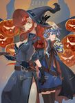 2girls alternate_costume cape costume dress gloves halloween hat jack-o'-lantern jack-o'-lantern multicolored_hair multiple_girls nia_teppelin nuda pumpkin red_hair smile tengen_toppa_gurren_lagann two-tone_hair witch_hat yoko_littner