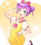 1girl :d ahoge arm_up azit_(down) bangs blush bow brown_footwear commentary_request double_bun dress eyebrows_visible_through_hair fingernails green_eyes hair_between_eyes hair_bow hand_on_hip heart highres manaka_lala open_mouth pink_bow pripara purple_hair red_neckwear sailor_collar shirt shoes short_sleeves side_bun signature sleeveless sleeveless_dress smile solo standing standing_on_one_leg star v_over_eye white_sailor_collar white_shirt yellow_dress