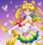 1girl absurdly_long_hair bishoujo_senshi_sailor_moon blonde_hair blue_eyes bow bowtie bug butterfly cowboy_shot crescent crescent_earrings double_bun earrings elbow_gloves floating_hair gloves gradient gradient_background highres holding_stick insect jewelry long_hair looking_at_viewer miniskirt moon-realm pleated_skirt red_bow red_neckwear sailor_collar sailor_moon sailor_senshi_uniform see-through shiny shiny_hair shirt skirt sleeveless sleeveless_shirt solo super_sailor_moon twintails very_long_hair white_gloves white_shirt