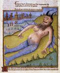 beard breasts castle facial_hair horn human hybrid mammal marine medieval medieval_art merfolk nipples pregnant scales tree unknown_artist wings