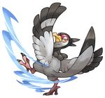 bird feathered_wings feathers no_humans pearl7 pokemon pokemon_(game) pokemon_bw simple_background solo tranquill white_background wings yellow_eyes