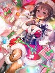 1girl banned_artist black_hair christmas gang_road_joker green_eyes highres md5_mismatch pixiv_manga_sample short_hair solo xil