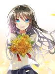1girl :d backlighting bangs black_hair black_sailor_collar black_skirt blue_eyes blush bouquet brown_hair commentary_request eyebrows_visible_through_hair flower hair_between_eyes highres holding holding_bouquet long_hair looking_at_viewer miyo_(user_zdsp7735) open_mouth original petals pleated_skirt red_neckwear sailor_collar school_uniform serafuku shirt skirt smile solo sunflower sunlight upper_teeth very_long_hair white_flower white_shirt yellow_flower