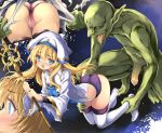 1girl ankle_grab ass blonde_hair blue_eyes blush commentary_request eyebrows_visible_through_hair goblin goblin_slayer! green_skin hat highres holding holding_staff imminent_rape kneeling kumakou long_hair long_sleeves monster open_mouth panties penis pink_panties pointy_ears priestess_(goblin_slayer!) purple_panties staff tears thighhighs tongue tongue_out torn_clothes underwear white_hat white_legwear