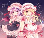 2girls ;d alternate_costume aogiri_sei apron arm_up bangs black_legwear blonde_hair bloomers blouse commentary_request contrapposto cowboy_shot curled_fingers enmaided fang flandre_scarlet flower gradient gradient_background hair_flower hair_ornament hand_holding hat hat_ribbon interlocked_fingers lavender_hair light_particles looking_at_viewer maid mob_cap multiple_girls one_eye_closed open_hand open_mouth pantyhose petticoat pink_blouse pink_neckwear pink_ribbon pink_skirt pointy_ears puffy_short_sleeves puffy_sleeves red_eyes remilia_scarlet ribbon short_hair short_sleeves siblings side_ponytail sisters skirt smile star striped striped_blouse striped_hat striped_skirt thighhighs touhou underwear waist_apron white_legwear wrist_cuffs yellow_neckwear yellow_ribbon