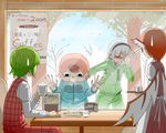 4girls against_glass alternate_costume blue_clothes bob_cut commentary commentary_request cup deformed dress drooling embarrassed facepalm feathered_wings food green_hair hood hoodie kazami_yuuka konpaku_youmu konpaku_youmu_(ghost) long_sleeves looking_at_another looking_down multiple_girls mystia_lorelei noodles okahi pink_dress pink_hair plaid plaid_shirt plaid_skirt puffy_long_sleeves puffy_sleeves red_hair saigyouji_yuyuko shinai shirt short_hair silver_hair sitting skirt sportswear sweatdrop sword touhou track_suit tray tree weapon window wings