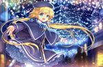 1girl blonde_hair blue_eyes capelet capura_lin christmas cross frills hat long_hair magi_in_wanchin_basilica night official_art smile solo twintails very_long_hair winter xiao_ma
