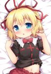 baku-p black_shirt blonde_hair blue_eyes blush commentary_request dakimakura lying medicine_melancholy navel on_back open_mouth red_skirt ribbon shirt shirt_lift short_hair skirt solo touhou upper_body