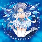 1girl blue_eyes blue_hair breasts capelet carnelian cleavage dress elbow_gloves female gloves hair_ornament high_heels ice ice_wings large_breasts looking_at_viewer original shoe_dangle shoes shoes_removed smile solo tiara white_legwear wings