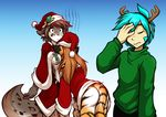 anthro big_breasts blue_eyes blue_hair bottomless breasts brown_hair butt canine christmas clothed clothing costume facepalm feline female flora_(twokinds) fur grey_fur group hair half-dressed hat holidays human hybrid kathrin_(twokinds) keidran long_hair male mammal mistletoe motorboating multicolored_fur orange_fur plant santa_costume santa_hat spots standing stripes sweater tiger tom_fischbach trace_legacy two_tone_fur twokinds white_fur