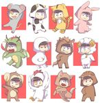 :< :3 :d :p ;d alternate_costume animal_costume animal_ears animal_hood antennae arms_up bangs bell black_eyes black_hair blunt_bangs breathing_fire brothers bunny_costume bunny_ears bunny_tail chibi chicken_costume chinese_zodiac claws collar cow_costume cow_ears cow_tail dog_collar dog_costume dog_ears dog_tail dragon_costume dragon_horns dragon_tail dragon_wings eyebrows eyebrows_visible_through_hair fang fire fur_trim grin half-closed_eyes heart heart_in_mouth highres honrs hood horns horse_costume horse_ears horse_tail koineko_(aph0310) looking_at_viewer male_focus matsuno_choromatsu matsuno_ichimatsu matsuno_juushimatsu matsuno_karamatsu matsuno_osomatsu matsuno_todomatsu monkey_costume monkey_ears monkey_tail mouse_costume mouse_ears mouse_tail multiple_boys multiple_views new_year one_eye_closed open_mouth osomatsu-kun osomatsu-san paw_pose pig_costume pig_ears sextuplets sheep_costume sheep_horns siblings smile snake_costume snake_tail tail tiger_costume tiger_ears tiger_print tiger_tail tongue tongue_out wings