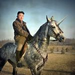 clothing duo edit equine fur grass horn horse human humor jacket kim_jong_un mammal multicolored_fur north_korea parody photo riding shopped tree unicorn what