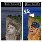 1:1 daniel_radcliffe edit english_text equine explosion fire fur grass happy hat horn horseback_riding human mammal open_mouth shopped tagme text unicorn unknown_artist what where_is_your_god_now white_fur