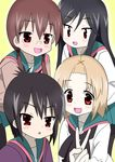 4girls a_channel black_hair blonde_hair brown_hair glasses highres ichii_tooru long_hair momoki_run multiple_girls nishi_yuuko open_mouth school_uniform short_hair smile tennouji_nagisa