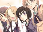 4girls a_channel black_hair blonde_hair brown_hair glasses ichii_tooru long_hair momoki_run multiple_girls nishi_yuuko open_mouth passingpleasures red_eyes school_uniform short_hair smile tennouji_nagisa