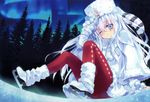 1girl absurdres alternate_costume aurora blue_eyes blue_flower blue_hair cape carnelian coat fingerless_gloves full_body gloves hat hibiki_(kantai_collection) highres huge_filesize ice ice_skates kantai_collection long_hair night one_eye_closed pantyhose red_legwear revision ribbon sitting skates sky solo tree white_hair winter_clothes winter_coat