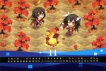 2girls :d ;o absurdres alternate_costume autumn_leaves brown_eyes brown_hair calendar carnelian chibi chikuma_(kantai_collection) fire food hair_ribbon highres holding huge_filesize kantai_collection long_hair multiple_girls one_eye_closed open_mouth ribbon scarf smile sweet_potato tone_(kantai_collection) track_suit twintails
