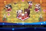 4girls :3 :d =_= absurdres alternate_costume brown_eyes brown_hair calendar carnelian chibi glasses grey_eyes grey_hair hachimaki hair_ribbon hanetsuki headband headgear highres huge_filesize japanese_clothes kadomatsu kagami_mochi kantai_collection kimono kotatsu long_hair multiple_girls musashi_(kantai_collection) new_year objectification open_mouth ponytail ribbon shinkaisei-kan shoukaku_(kantai_collection) silver_hair smile table tan twintails wo-class_aircraft_carrier yamato_(kantai_collection) zuikaku_(kantai_collection) zzz