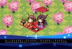 :d absurdres alternate_costume black_hair brown_eyes brown_hair calendar carnelian cherry_blossoms chibi food green_eyes headgear highres huge_filesize japanese_clothes kantai_collection kimono long_hair mochi mutsu_(kantai_collection) nagato_(kantai_collection) obentou open_mouth oriental_umbrella petals short_hair smile umbrella wagashi