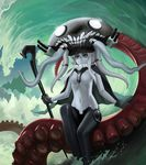 blue_eyes bodysuit cane floating_island gloves headgear highres hinoyama_ena kantai_collection magic:_the_gathering monster ocean octopus pale_skin parody shinkaisei-kan silver_hair teeth tentacle_hair tentacles turret waves wo-class_aircraft_carrier