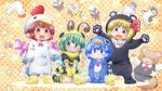 4girls :3 :d animal_costume bear bear_costume bee bee_costume bird bird_wings blonde_hair blue_eyes blue_hair blush brown_eyes brown_hair chicken_costume cirno d:< fangs green_eyes green_hair highres insect matty_(zuwzi) multiple_girls mystia_lorelei mystia_lorelei_(bird) open_mouth penguin penguin_costume red_eyes rumia rumia_(cosplay) short_hair smile touhou wavy_mouth wings wriggle_nightbug
