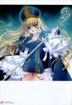 1girl absurdres blonde_hair blue_eyes breasts broccoli_(company) cape carnelian cleavage copyright_request detached_sleeves dress flower hair_flower hair_ornament hat highres long_hair long_sleeves open_mouth short_dress staff translation_request very_long_hair