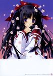 1girl absurdres bell blue_eyes blush carnelian copyright_request detached_sleeves flower hair_ribbon highres japanese_clothes jingle_bell long_hair long_sleeves looking_at_viewer miko parted_lips petals ponytail red_ribbon ribbon ribbon-trimmed_sleeves ribbon_trim smile translation_request very_long_hair