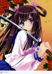 absurdres blue_eyes blush brown_hair carnelian copyright_request highres holding holding_weapon katana long_hair looking_away school_uniform serafuku serious sword translation_request weapon