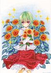 1girl bouquet dated flower green_hair juliet_sleeves kazami_yuuka long_sleeves looking_at_viewer marker_(medium) mosho plaid plaid_skirt puffy_sleeves red_eyes shirt signature skirt smile solo sunflower touhou traditional_media