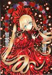 1girl aqua_eyes blonde_hair blue_rose capelet chocolate chocolate_heart dated dress flower happy_valentine hat heart lolita_fashion long_hair looking_at_viewer marker_(medium) mosho red_dress red_rose rose rozen_maiden shinku signature solo traditional_media twintails very_long_hair