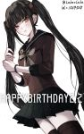 :t alternate_hairstyle bangs black_hair black_legwear black_sailor_collar black_skirt blunt_bangs blush bow bowtie brown_shirt cowboy_shot danganronpa dated grey_bow grey_neckwear hair_ornament happy_birthday harukawa_maki long_hair long_sleeves looking_at_viewer miniskirt mole mole_under_eye new_danganronpa_v3 pleated_skirt red_eyes sailor_collar shirt simple_background skirt solo standing thighhighs twintails twitter_username very_long_hair white_background z-epto_(chat-noir86) zettai_ryouiki