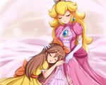 2girls blonde_hair brown_hair christine_(henry) cropped crown dress elbow_gloves long_hair nintendo original princess_peach sigurdhosenfeld sleeping super_mario