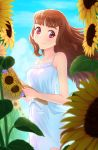 1girl blue_sky brown_hair day dress floating_hair flower hat highres holding holding_hat idolmaster idolmaster_cinderella_girls kamiya_nao long_hair looking_at_viewer ntn00a outdoors red_eyes short_dress sky sleeveless sleeveless_dress smile solo standing straw_hat sun_hat sundress sunflower white_dress yellow_flower