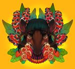 2018 achiote_seeds angry anthro black_eyebrows black_eyeliner black_eyeshadow black_hair brown_eyes brown_skin digital_drawing_(artwork) digital_media_(artwork) ear_piercing eyebrows eyelashes eyeliner female flower food front_view frown fruit gauged_ear guarana hair headshot_portrait hybrid icon leaf looking_at_viewer makeup mammal migo_(xuu) mountain_tapir multicolored_skin orange_background piercing plant portrait seed short_hair simple_background solo south_american_tapir tapir thick_eyebrows trunk two_tone_skin unamused warm_colors white_skin xuu