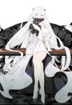 1girl breasts covered_mouth dress full_body horns kantai_collection large_breasts legs_crossed long_hair looking_at_viewer midway_hime nello_(luminous_darkness) pale_skin red_eyes shinkaisei-kan sitting solo very_long_hair white_dress white_hair white_skin