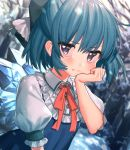 1girl bangs bare_tree blue_bow blue_dress blue_eyes blue_hair blurry blurry_background blush bow cirno dress eyebrows_visible_through_hair frilled_shirt_collar frills hair_between_eyes hair_bow hand_on_own_cheek hand_up highres ice ice_wings light_particles looking_at_viewer masanaga_(tsukasa) neck_ribbon pinafore_dress red_neckwear red_ribbon ribbon shirt short_hair snow solo tears touhou tree upper_body white_shirt wings